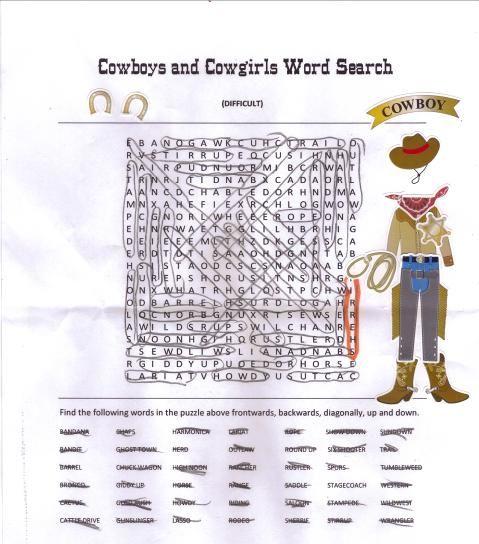 Free Cowboy Word Search Printable western theme