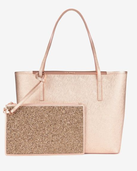 Large metallic leather shopper bag - Rose Gold | Bags & Wallets | Ted Baker
