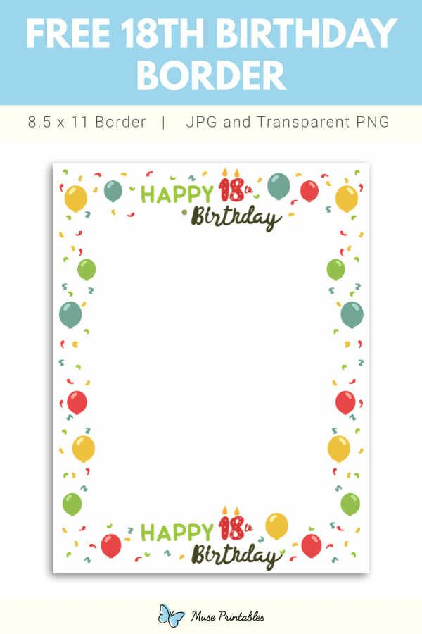 Free Printable 18th Birthday Border In 2020 18th Birthday Free Printables Birthday