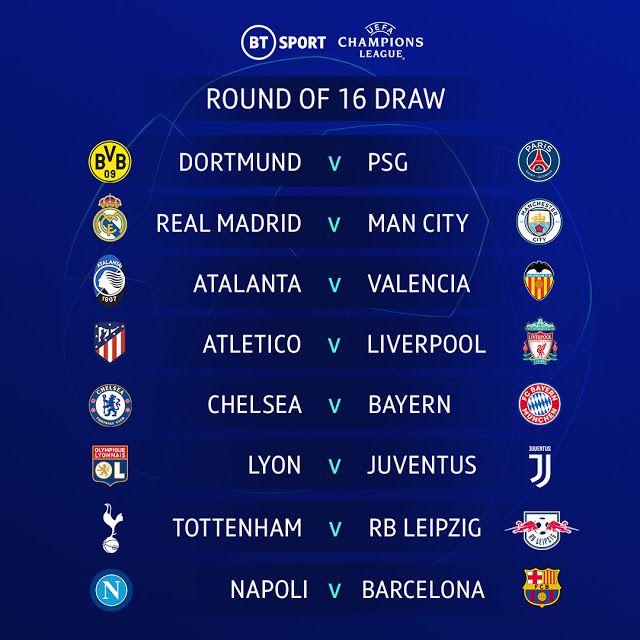 قرعة دور الـ16 من دوري أبطال أوروبا 2019 2020 Champions League Dortmund Uefa Champions League