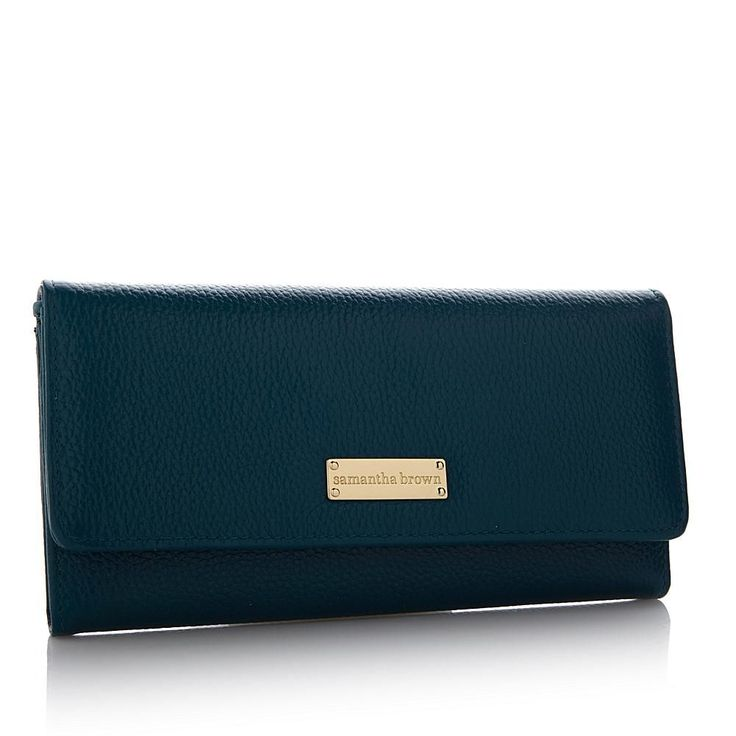 Samantha Brown Leather RFID Clutch Wallet with Credit Card Insert - Blue