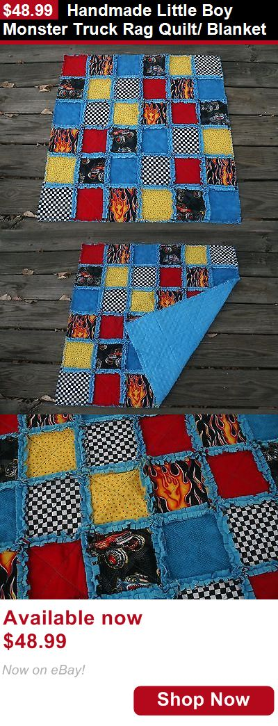 Quilts And Coverlets: Handmade Little Boy Monster Truck Rag Quilt/ Blanket BUY IT NOW ONLY: $48.99
