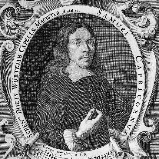 Samuel Capricornus was one of the few Czech composers in the 17th century who were a major influence on European contemporaneous music culture. This composer earned in his short life acknowledgement from such contemporaries as Schütz and Carissimi. He was active in Vienna, worked for a few years as a music director in Presburg and finally fulfilled his career at the court of Elector in Stuttgart, as maestro di capella. See more at www.motusharmonicus.cz
