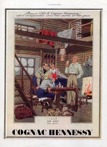 Hennessy (Brandy, Cognac) 1939 Marcel Jacques Hemjic, Skiing