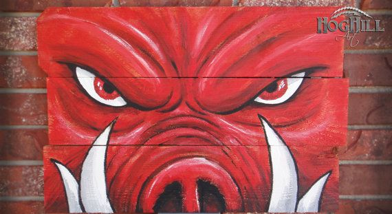 "Arkansas Razorback painting ""Tusks"" on hand-made wooden canvas on Etsy, $65.00"