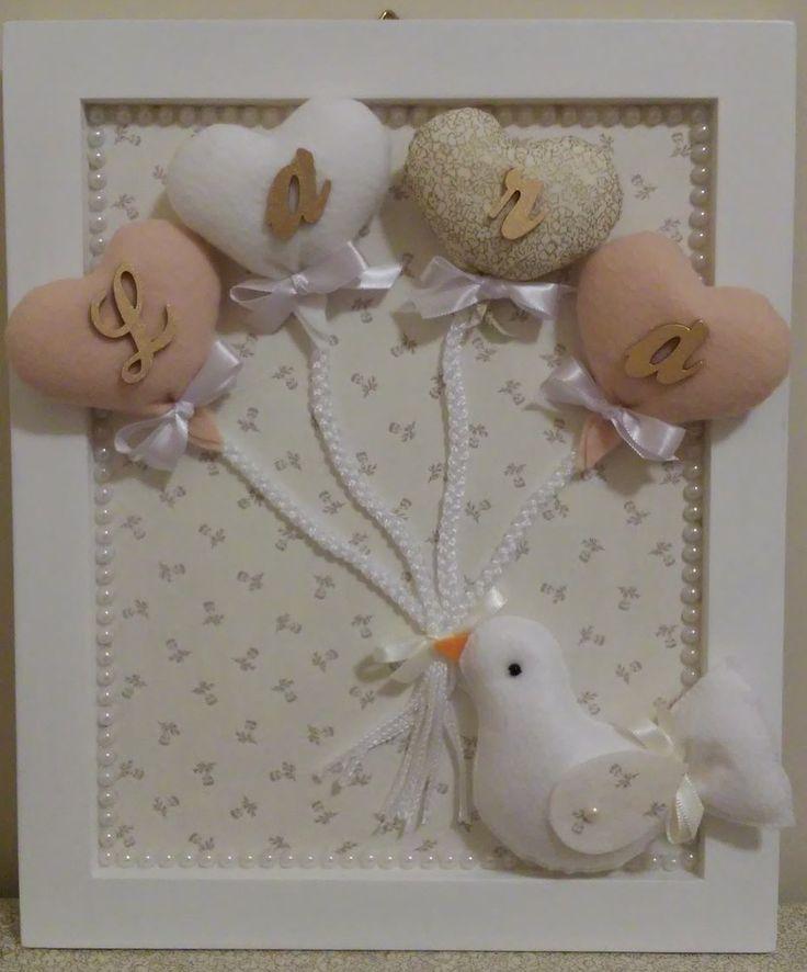 Porta Maternidade com corações e passarinho em feltro da Lara
