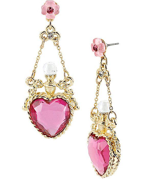 FAIRYLAND HEART BOW DROP EARRING PINK accessories jewelry earrings fashion