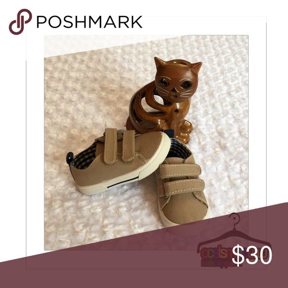 tan • carter's • shoes Very cute. Functional and toddler friendly. Two Velcro fasteners and a Rubber sole keeps it nice and simple. Great for all year around. Adding size 8/17 Carter's Shoes