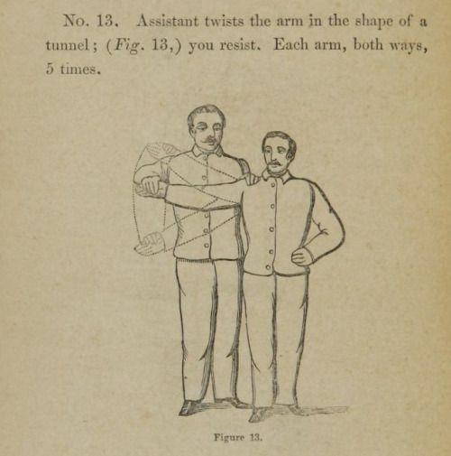 イチジク。 13.アシスタントはトンネル状の腕を捻ります。 あなたが抵抗します。 弱い肺、およびそれらを強くする方法について説明します。 1863。