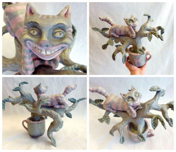 Cheshire Cat Paper Mache Sculpture Art Dolls Tutorials