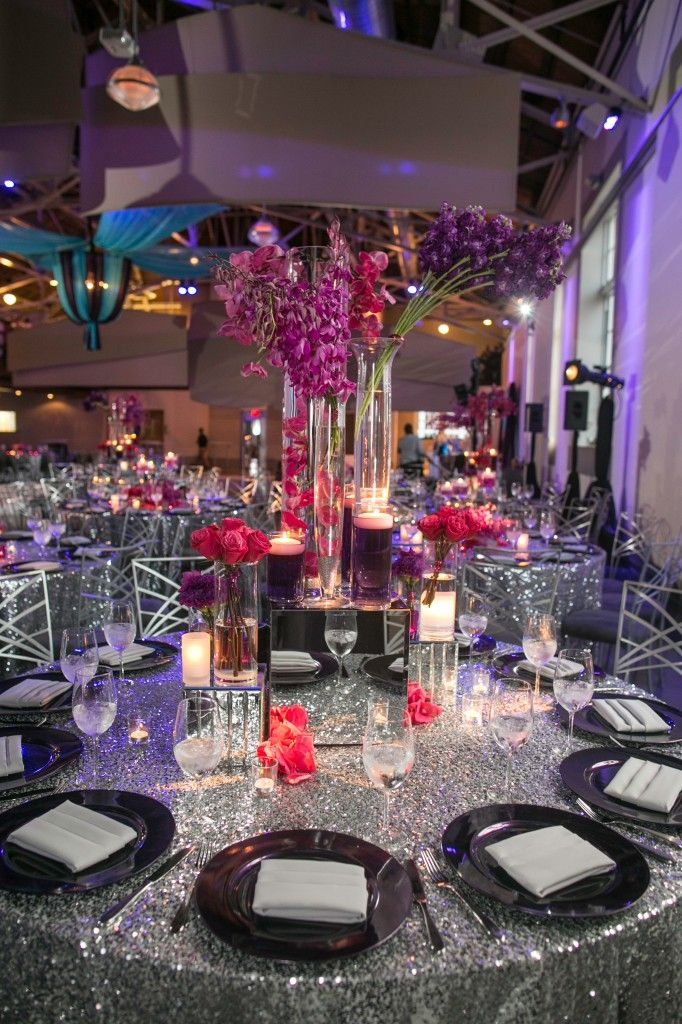 Towering Centerpieces Purple Pink On Silver Sequin Linen