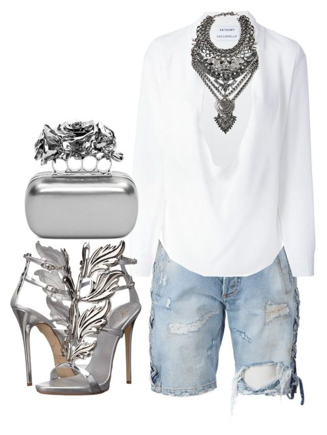 Silver & denim by minkstyles on Polyvore featuring polyvore, fashion, style, Anthony Vaccarello, Faith Connexion, Giuseppe Zanotti, Alexander McQueen, DYLANLEX, women's clothing, women's fashion, women, female, woman, misses and juniors