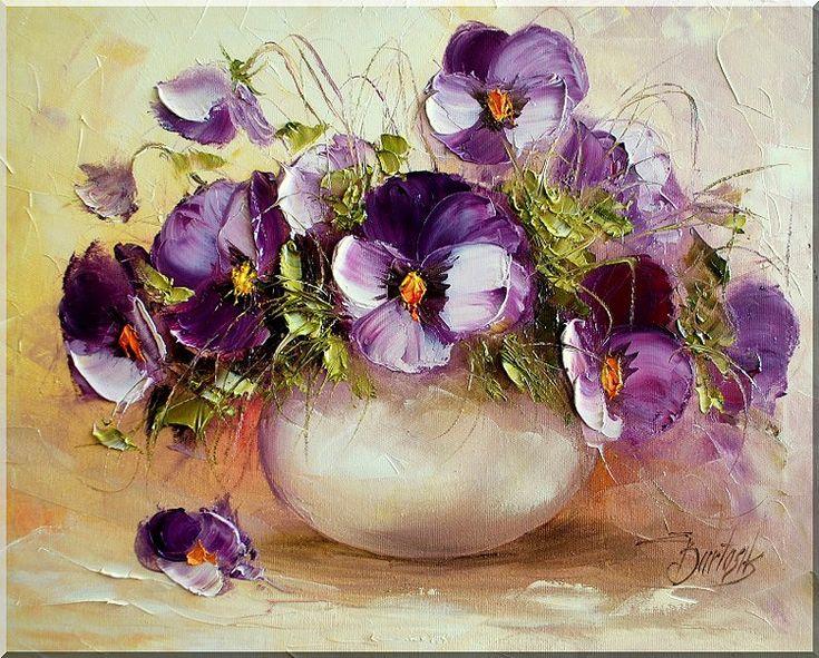 Цветы мастихином от польской художницы Ewa Bartosik