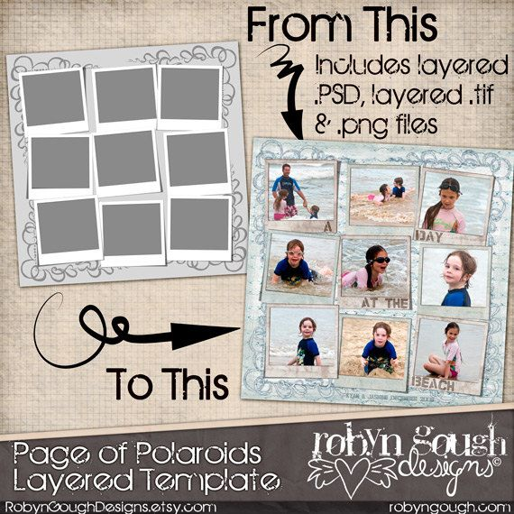 Layered Digital Scrapbook Template - Page of Polaroids by Robyn Gough on Etsy, digiscrap, digital scrapbook