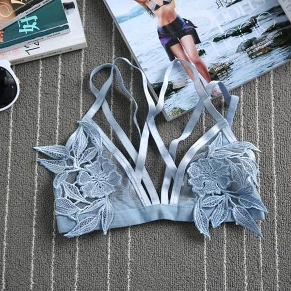 """Sky Blue Mesh Floral """"Tulum"""" Triangle Bra See Thru Skivvies With Flower Applique In The Center Sizes Small Medium Large Or Extra Large"""