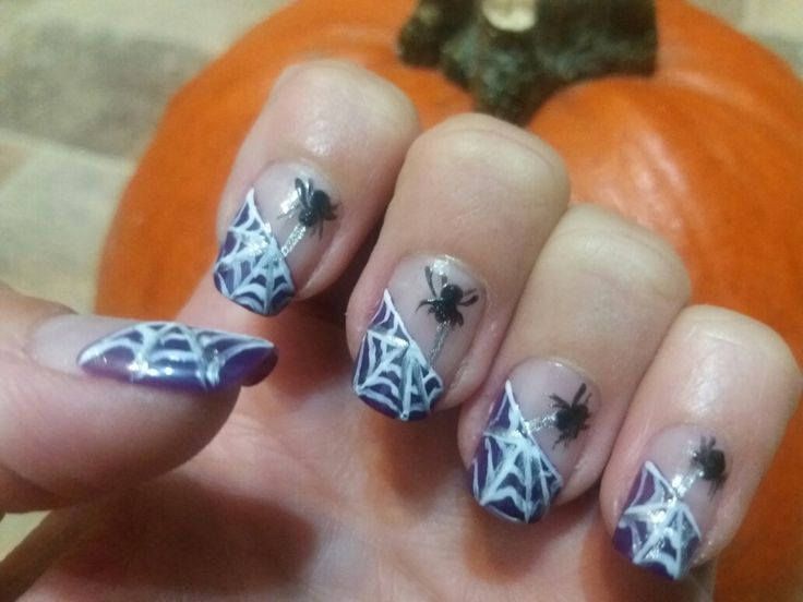 October nails: Halloween 2 - purple, white, silver, black