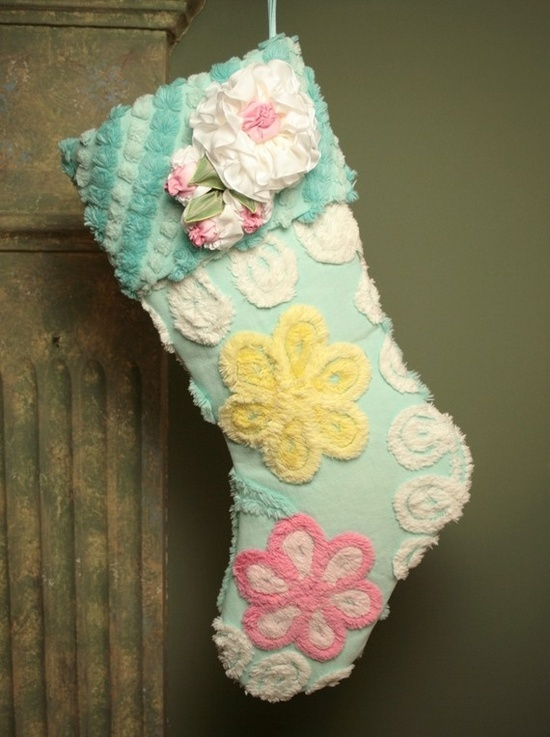 Christmas stocking made from vintage chenille