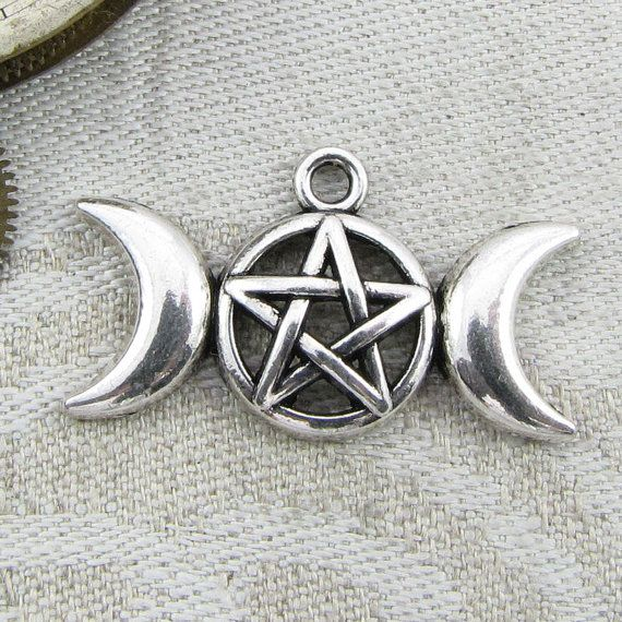 Set of 5 Silver Triple Moon Wiccan Goddess by BriarGateCharms