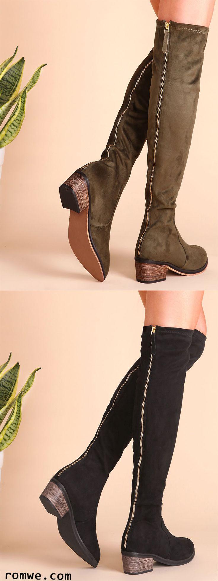 Suede Point Toe Cork Heel Knee Boots
