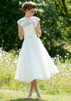 tea length lace top wedding dress lingre or bridal shower dress for the bride to wear