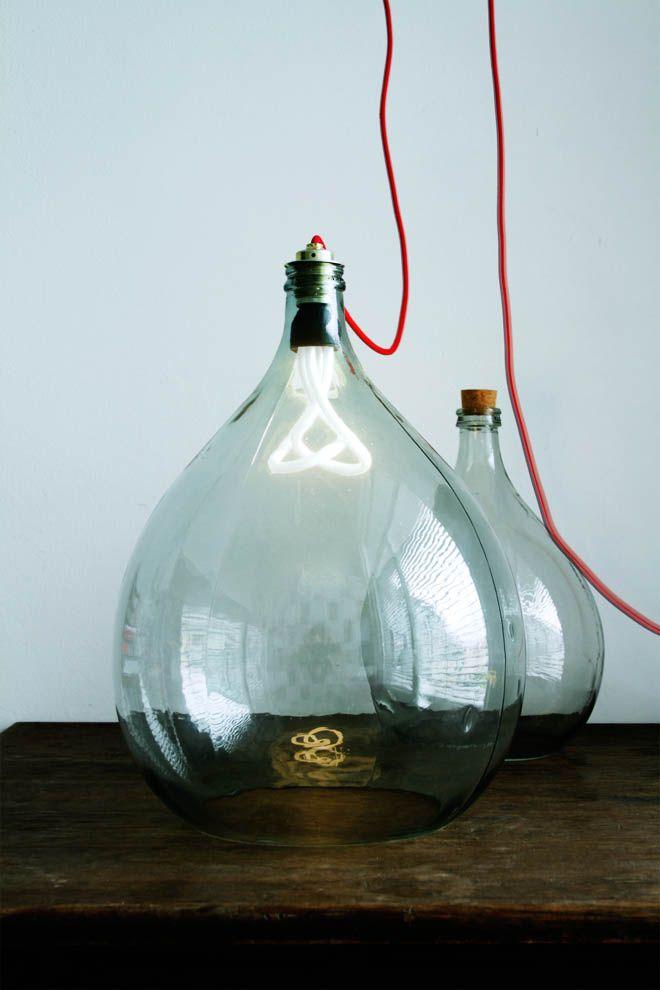 bottles originally designed for wine storage : KMKG STUDIO (Note: Like the shape of the bottle and bulb- interesting variation.)
