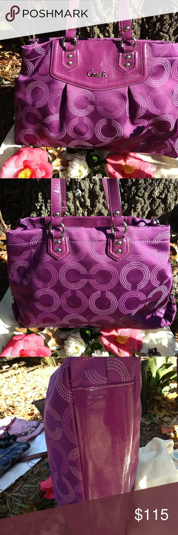 💗Coach 💗Ashley Dotted Opt Art Satchel Coach Ashley Satchel Guaranteed Coach Authentic ☆Polished tone hardware ☆2 inside Multifunction's Slip Pockets ☆One inside Zippered pocket           ☆Two main compartments with magnetic snap closure & one middle zipper compartment ☆Coach Leather hang tag ☆Interior solid lining  ☆In excellent condition (2 small blk spots inside, see pics) ☆Approx: 15 3/4 (L)x10 1/2(H)x 3 1/2(D) ☆Double strap leather handles ☆Detachable Crossbody strap Missing…