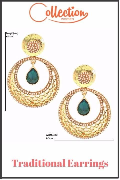 Traditional Round Shape Earrings {http://bit.ly/2rmlJpk?utm_content=buffer1f9fe&utm_medium=social&utm_source=pinterest.com&utm_campaign=buffer} Set Exclusively Available Only on Collectionwomen.com -