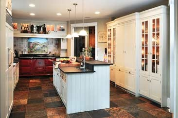 Slate floor with white cabinets kitchen ideas pinterest for Slate kitchen floors with white cabinets