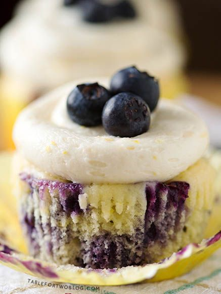 Lemon Blueberry Cupcakes by Table for Two