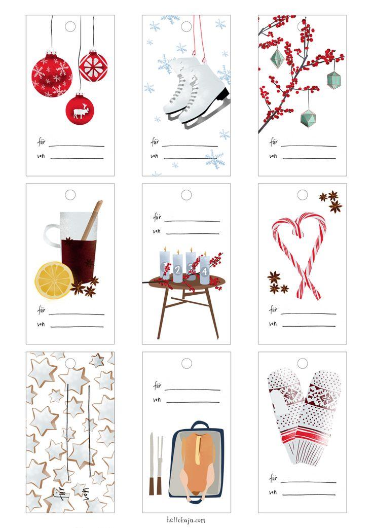 hello kaja: happy vierter advent!  Free Download, Printable Christmas Tags   Weihnachtsanhänger zum runterladen Geschenkanhänger