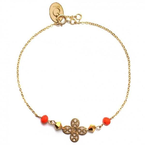 Bracelet avec chaîne et trèfle en plaqué or 14 carats et perles de cristal orange et doré.Fabriqué à Paris.Délais de livraison : 2-5 jours.