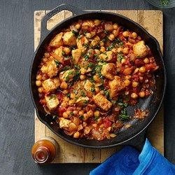 Middle Eastern Chicken & Chickpea Stew - I basically did a salad and omitted the tomatoes because I didn't have but I added some cheese and this recipe is beyond yummy. 267 calories; 8 g fat(1 g sat); 6 g fiber; 21 g carbohydrates; 28 g protein