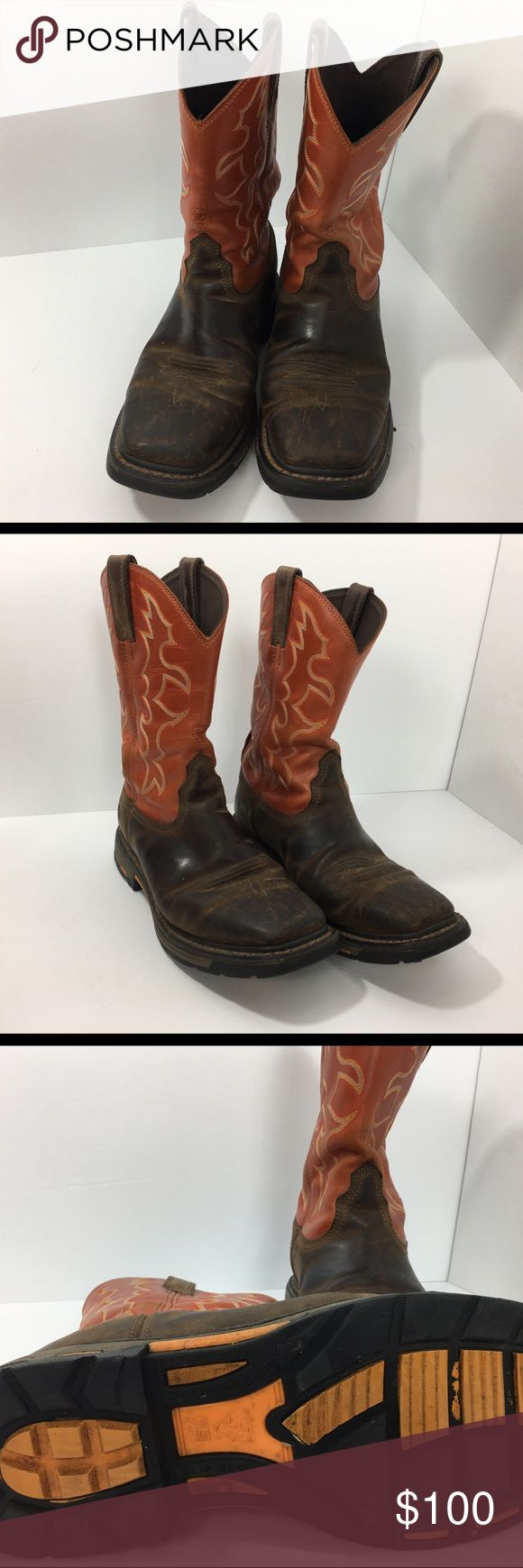 ARIAT Size 11D Mens Workhog Square Toe Work Boots Mens Ariat Work Boots Size 11 D Pre Owned Scuffs on Boots Square Toe Orange/Brown Slip Resistant Ariat Shoes Boots
