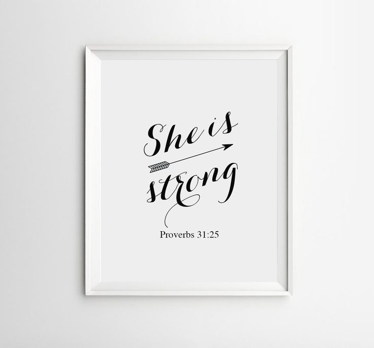 Bible Verse Art, Bible Verse Wall Decor, She is Strong Proverbs 31:25, Bible Verse Print, Christian Quote, Nursery Bible Verse by ArteeCor on Etsy https://www.etsy.com/listing/209822228/bible-verse-art-bible-verse-wall-decor