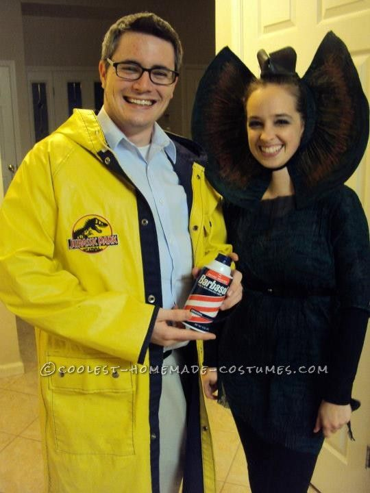 Coolest Homemade Couple Costume: Dennis Nedry and Dilophosaurus from Jurassic Park ... This website is the Pinterest of costumes