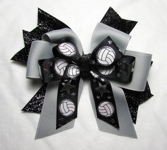 Large Girls Volleyball Bow  Black Glitter by BonnieJBoutique