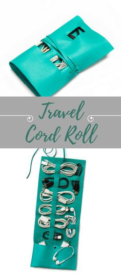 Travel Cord Roll - Luggage shifts, cords tangle, but you can keep your electronic companions organized in style with this travel roll. No more untangling a messy handful of cords just to charge your phone, rather, neatly tuck up to eight cords and two plugs into your stylish organizer. It's also great for stowing small knick-knacks like watches, hair clips etc | Travel Hacks | Travel Essentials Lists | Travel Checklist | Travel Items #Affiliate