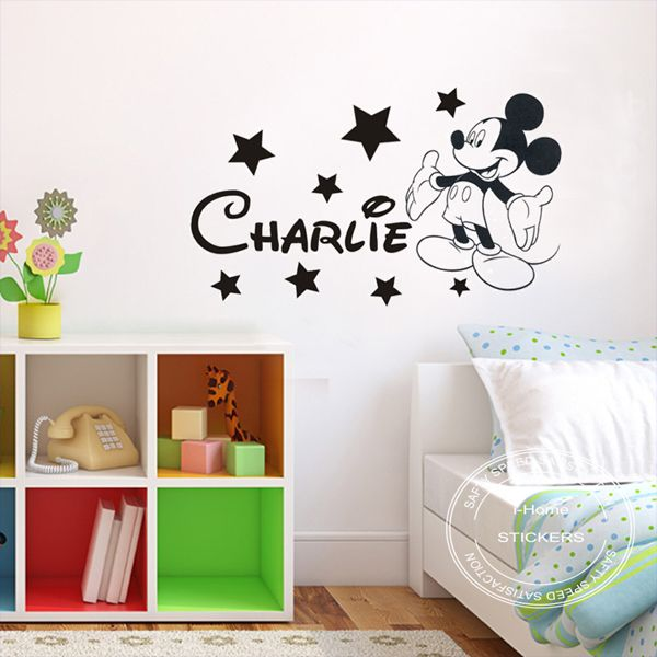 Diy removable mickey mouse personalised boys kids bedroom - Childrens bedroom wall stickers removable ...