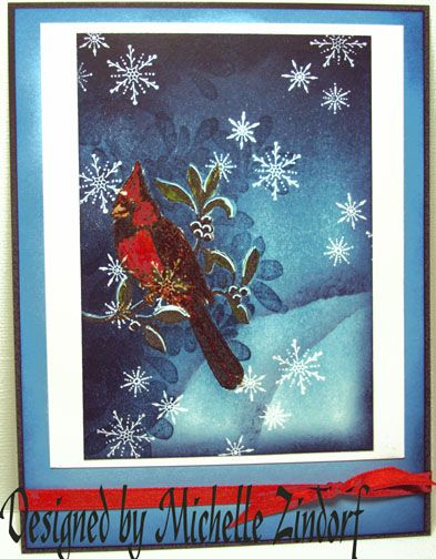 Card by Michelle Zindorf (101409) [Stampin' Up! A Cardinal Christmas, Serene Snowflakes]
