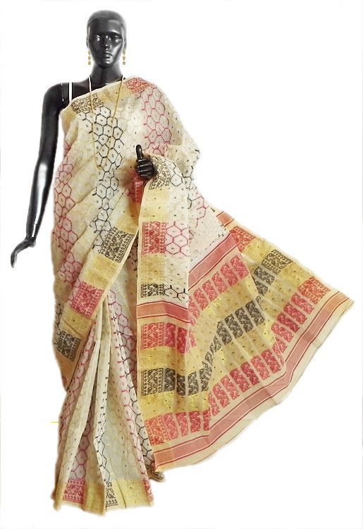 White Tangail Saree with Dhakai Jamdani Design (Cotton))