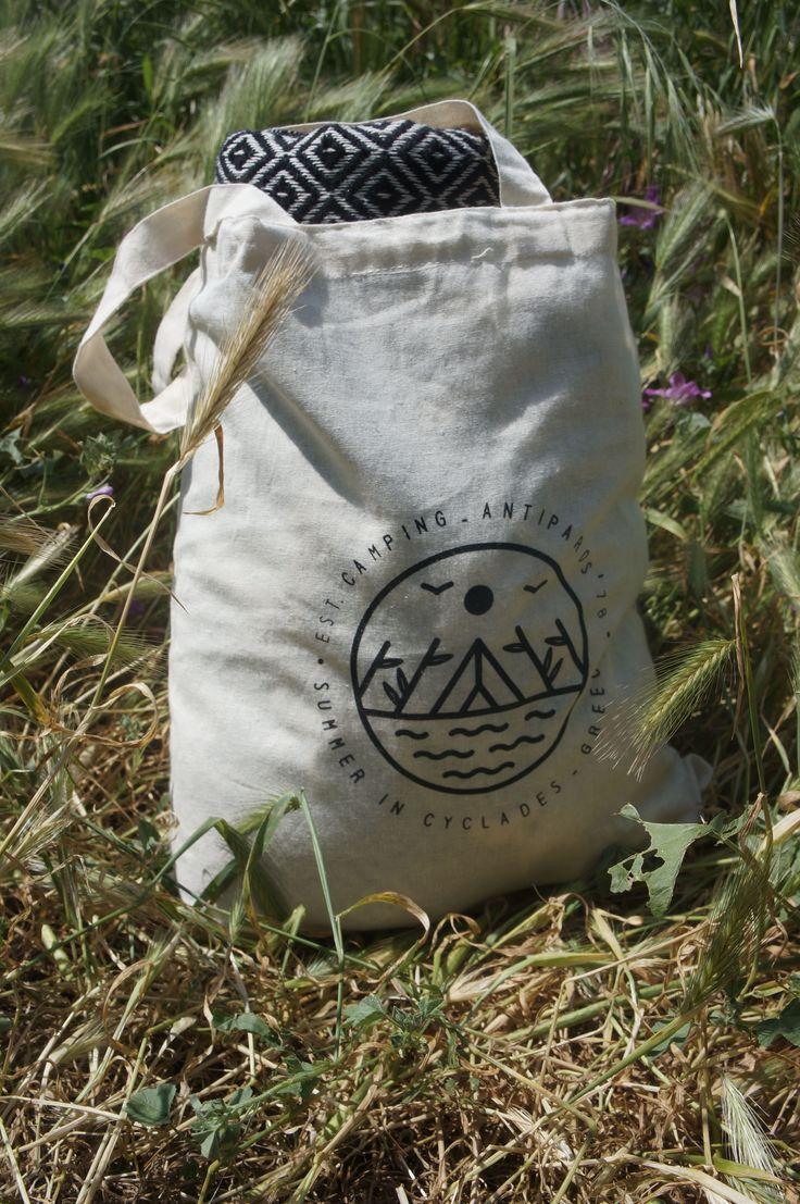 Logo Design on tote bag.  Designed for Antiparos Camping, Greece