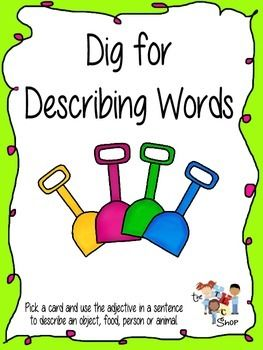 There are 36 adjective cards in this FREEBIE.  Place the cards in a pile.  Have students pick a word and use the adjective in a sentence to describe an object, food, person or animal.