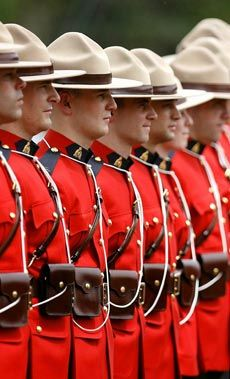 Royal Canadian Mounties in uniform. I've always loved the deep, true red of their jackets.