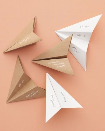 cute! // paper airplane seating cards