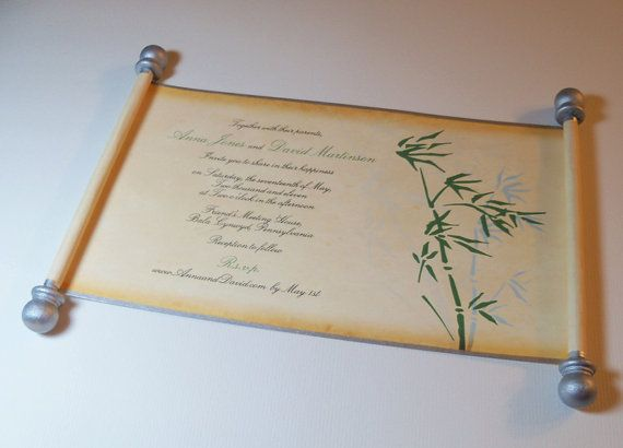 Mikey would kill me but how cool is this?     Bamboo design scroll wedding invitation set of by ArtfulBeginnings, $198.75