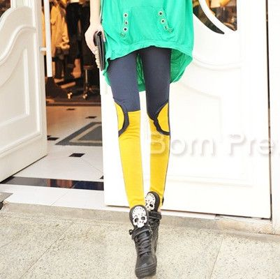 $12.63 Semicircle Splicing Print Tights Leggings Soft Leggings - BornPrettyStore.com
