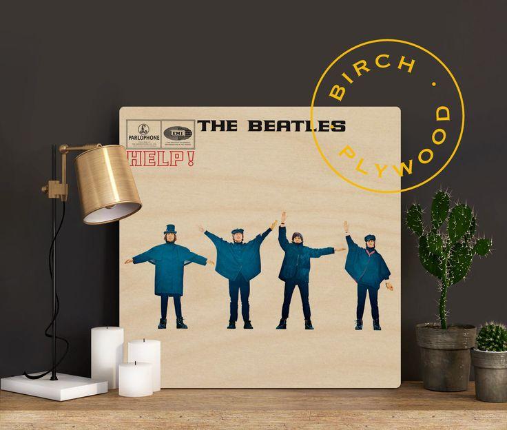 THE BEATLES: Help - Album Art on Wood, Paul McCartney, John Lennon, George Harrison, Ringo Starr, Music Art, Unique Gift, Wood Gift by InHousePrinting on Etsy