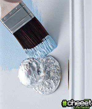 No moreoops! cover door knob in foil. =)