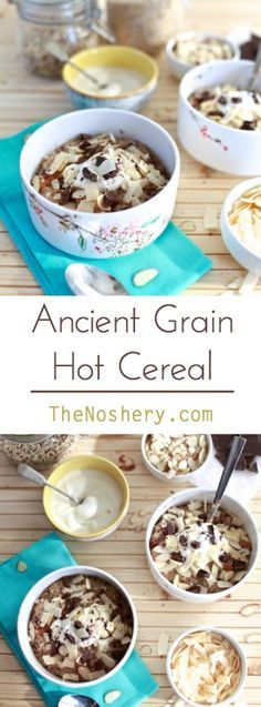 Spiced Ancient Grain Cereal | A hearty hot cereal made quinoa and steel cut oats. Spiced with cardamon and ginger and topped with dark chocolate, almonds and dates.| TheNoshery.com - @TheNoshery