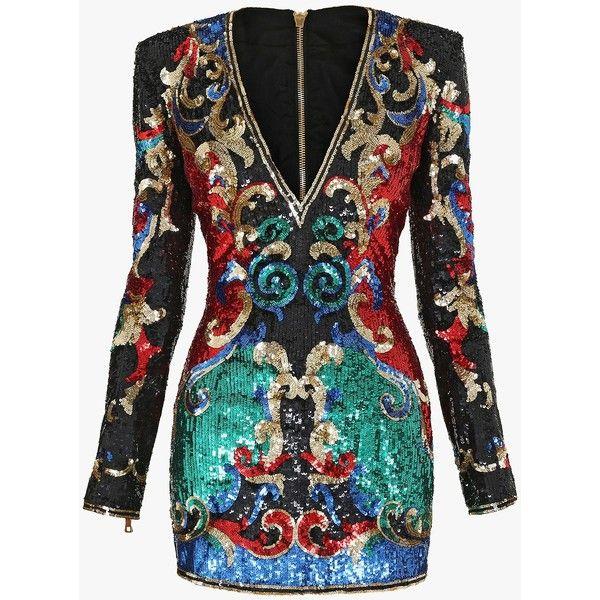 Balmain Sequins embellished mini dress ($4,260) ❤ liked on Polyvore featuring dresses, vestidos, multi color sequin dress, short sequin dress, sequin cocktail dresses, zipper dress and balmain dress